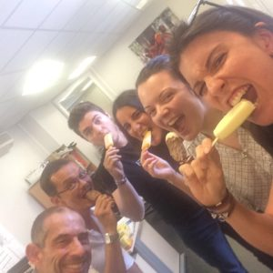 Our colleagues in Paris cooled down in the summer sun with ice-creams.