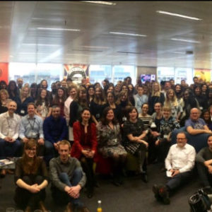 Colleagues in London celebrated their new office space in Bankside with a happy hour and group photo.
