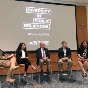 Sharon Jones (far right) took part in the University of Florida PRSSA's Diversity in Public Relations panel.