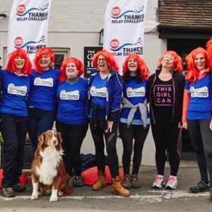 London CEO Denise Kaufmann and her troop of fiery red-heads and Rusty the dog took part in the Thames Relay Challengefor Sports Relief.