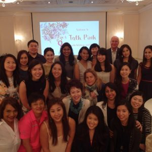 Colleagues from Singapore, including Judith Knight, Deputy GM (front row, left), and John Bailey, MD (back row), at a Breast Cancer Awareness briefing organized for the Breast Cancer Foundation, which Ketchum Singapore supports on a part-paid, part pro bono basis. The event was hosted by the iconic Raffles Hotel (*client).