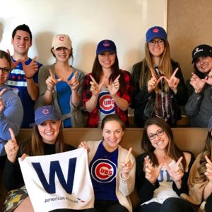 Colleagues from Chicago celebrated baseball team The Cubs first World Series title in 108 years.
