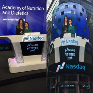 Jaime Schwartz and Maggie Michalczyk promoted the Academy of Nutrition & Dietetics Kids Eat Right Month and FIT by ringing the Nasdaq bell.