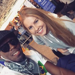 KSE's Hollie Mellia met Gold Medal winner Usain Bolt while working in Rio for the Olympics.