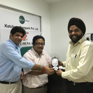 Harpreet Marwah celebrated his five year anniversary at Ketchum Sampark with colleagues Rajat Chandihok & Surajeet Dasgupta.